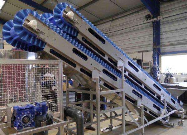 tapis elevateur frites fraiches tapis d'alimentation